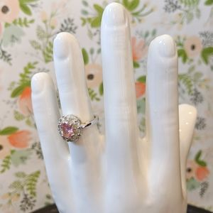Pretty Pink Crystal Flower Halo Ring - Size 7